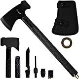 Yes4All Camping Axe Set Kit with Sheath – Survival Axe/Camping Hatchet and Knife Kit – Portable Folding Multi-Tool for Outdoor Adventure (Black)