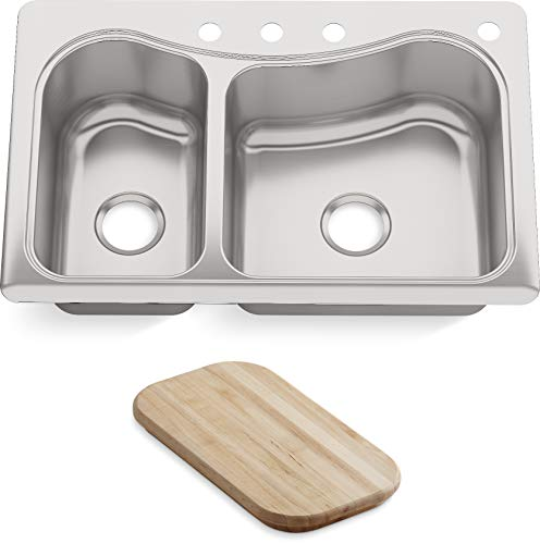 KOHLER K-3361-4-NA Staccato Dual Large Medium Self-Rimming Kitchen Sink, Stainless Steel