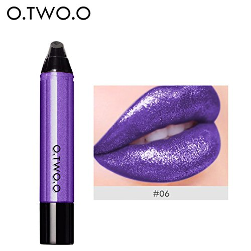 Color Lipstick Lip Shine Wet (Sagton O.TWO.O 12 Colors Lipstick Shine Waterproof Long Lasting Liquid Velvet Matte Lip Gloss (F))