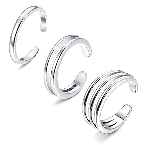 (Sllaiss 925 Sterling Silver Minimalist Toe Rings Set Simple Open Thin Band Ring Adjustable for Women Girls)