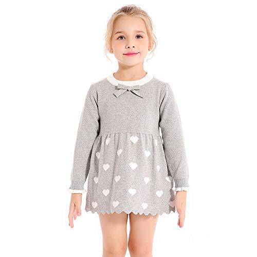 SMILING PINKER Little Girl Sweater Dress Long Sleeve Swan Heart Knit Tunic Pullover (Gray Heart, 3-4t) ()