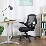 SONGMICS Mesh Office Chair Desk Chair, Swivel Computer Chair with Flip up Armrests, Black, OBN81BUK
