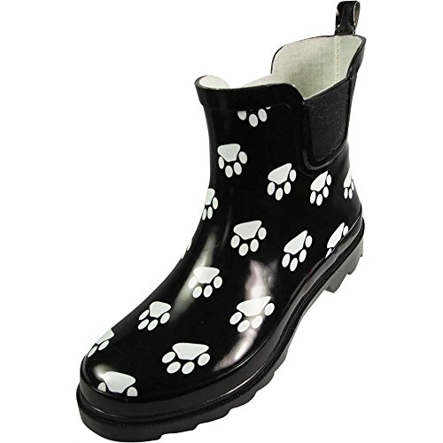 NORTY - Womens Ankle High Paw Printed Rain Boot, Black, White 39720-6B(M) US ()