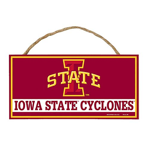Bek Brands College and University Mascot Wood Sign with Rope Handle, 5 x 10 in (Iowa State Cyclones)