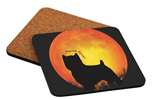 Rikki Knight Norwich Terrier Dog Silhouette by Moon Design Cork Backed Hard Square Beer Coasters, 4-Inch, Brown, 2-Pack