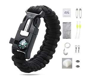 "iRainy Paracord Bracelet W 16-Piece Survival Gear Kit Includes 11-Piece Fishing Gear (8"" Inches Black)"