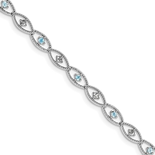 ICE CARATS 925 Sterling Silver Blue Topaz Diamond Bracelet 7 Inch Gemstone Fine Jewelry Gift Set For Women Heart by ICE CARATS