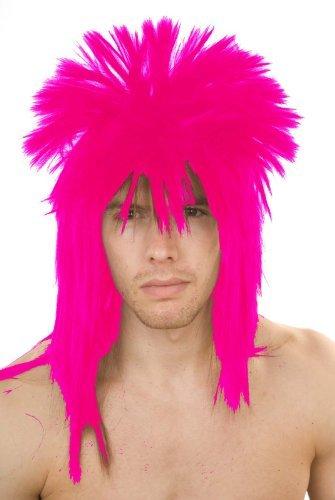 Rock Legend Costumes Wig (CC 80'S Rock Legend Pop Star Heavy Metal Style Wig Fancy Dress - Hot Pink by FDC)