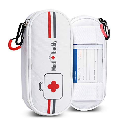 - MedBuddy Portable Travel Case - Holds 2 EpiPens or Auvi-Q, Inhaler, Allergy/Asthma - Expandable and Compact for Emergency Access (White)