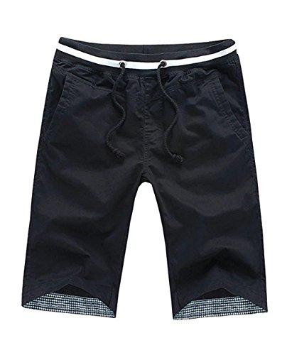 DGVI Men's Summer Casual Shorts Comfortable (Black 38)