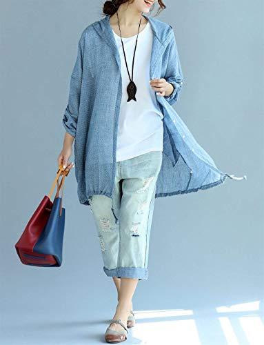 Estivo Eleganti Primaverile Incappucciato Blu Outerwear Donna Protezione Casual Coulisse Manica Giaccone Cappotto Lunga Cardigan Circle Sciolto Giubbino Chic Solare Autunno Cute Moda qpOCSwO