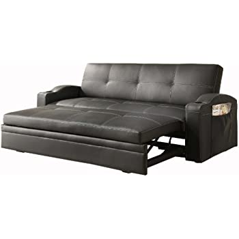 Homelegance 4803BLK Convertible/Adjustable Sofa Bed, Black Bi Cast Vinyl