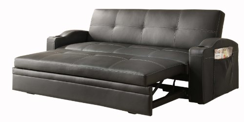 Homelegance 4803BLK Convertible/Adjustable Sofa Bed, Black Bi-cast Vinyl - Black Vinyl Futon Sofa