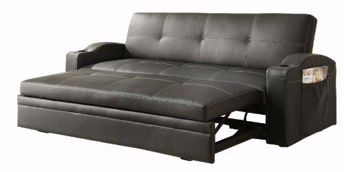 Home Elegance Black Leather Queen - Homelegance 4803BLK Convertible/Adjustable Sofa Bed Bi-cast Vinyl, Black
