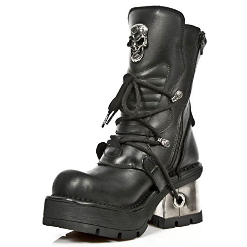 New Rock Women's Metallic Black Leather Boots M.1044-S1 (39 EU, BLACK) by New Rock Shoes (Image #2)