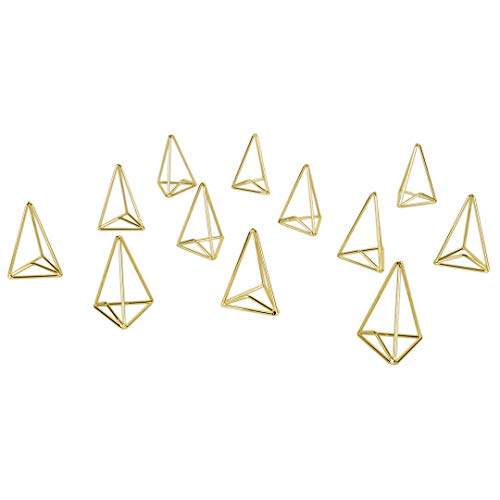 Koyal Wholesale Modern Metal Geometric Triangle Wedding Place Card Holders, Set of 12 Gold Table Number Holders for Wedding, Bridal Shower, Rehearsal Dinner, Thanksgiving, Christmas, Home Decor -