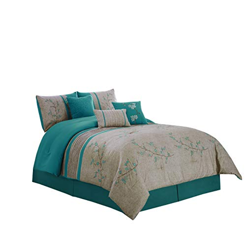 Chezmoi Collection Noriko by Luxury 7-Piece Teal Cherry Blossoms Floral Embroidery Bedding Comforter Set (Queen, 90