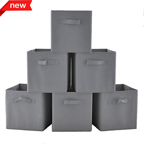 Shaco Durable Cloth Storage Bins Cubes Baskets Containers for Shelf, Closet or Underbed, Grey Foldable Storage Bins Cubes For Six Cubes