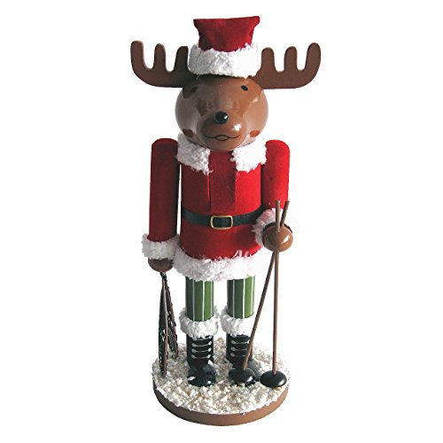 Reindeer in Santa Outfit with Skis Wooden Christmas Nutcracker 14 Inch