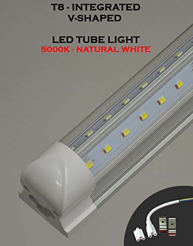 (Pack of 10 Lights) T8 Integrated 8 Feet 65 Watt V Shaped (270 Degrees Viewing Angle) 5000K Clear Lens Plug and Play Tube Light for Cooler Freezer by Plan Hoot (Image #5)