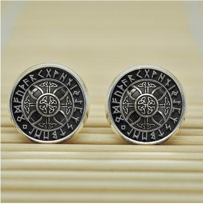 [Norse Viking Cross in Rune Circle Earrings Studs jewelry glass Cabochon Earrings Post (silver)] (Costumes Jewelry Online)