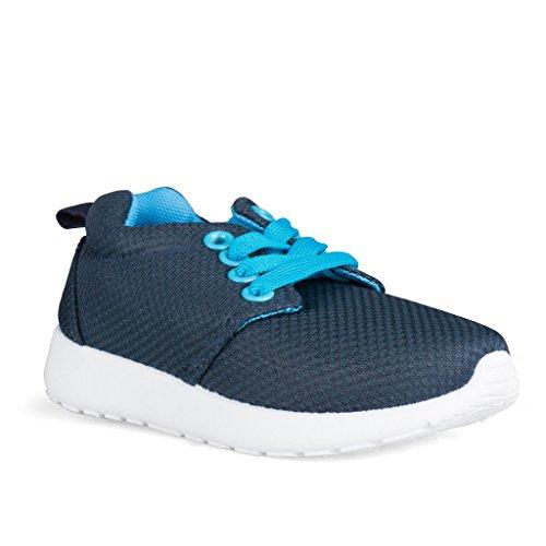 [SBJ104-NAVY/BLUE-T7] ShoeShox Sneakers, Unisex Babies & Toddlers, Breathable Mesh Upper, Navy &