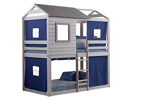 Donco Kids Deer Blind Bunk Loft Bed Tent, Twin/Twin, Light Grey/Blue