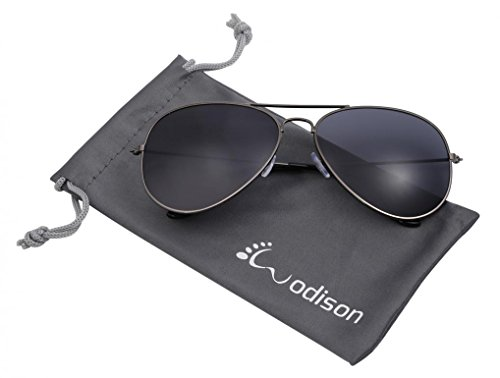 WODISON Vintage Reflective Mirror Lens Metal Frame Aviator Sunglasses Gun Frame Smoke - Popular Sunglasses Male