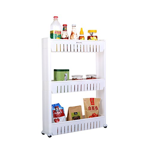 Large Mobile Storage - Home-Man Mobile Shelving Unit Organizer with 3 Large Storage Baskets, Gap Storage Slim Slide Out Pantry Storage Rack for Narrow Spaces