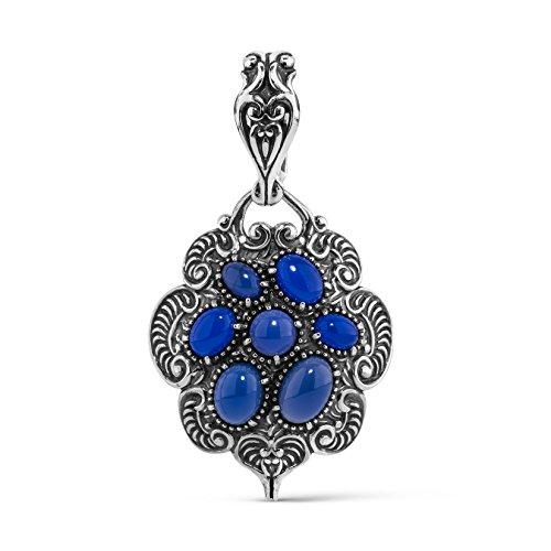 Carolyn Pollack Sterling Silver & Blue Agate Cluster Pendant Enhancer ()