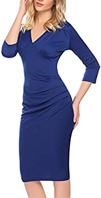 WOMEN ROUND NECK 3//4 SLEEVE FITTED SOLID STRETCH BODYCON MIDI PENCIL DRESS S-XL