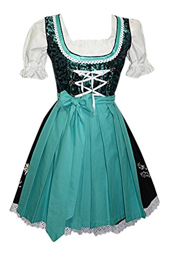 Edelweiss Creek 3-Piece German Oktoberfest Dirndl Dress, Black and Aqua Green (14) by Edelweiss Creek