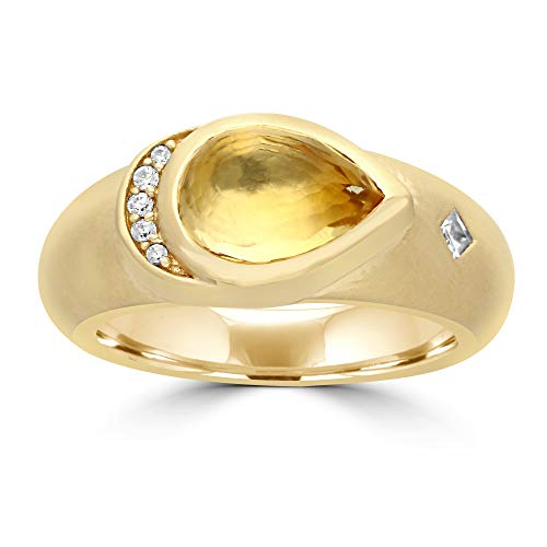 LOVE LIVES HERE Yellow Citrine 925 Silver Ring - Lovely Pear Cut Citrine & Cubic Zircon Ring For Women To Look Pretty, Attractive & Stunning