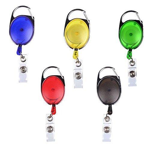 Badgemates Retractable Id Badge Holder - BadgeMates, Translucent Retractable Carabiner Badge Reel, Assorted Colors, 5 Pack