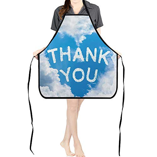 Jiahong Pan Adult Apron Waitresses Apron Clouds Writings on Air Heart Shaped Quotes Thank You Gifts Design Cooking Kitchen Aprons for Women MenK26.6xG27.6xB10.2