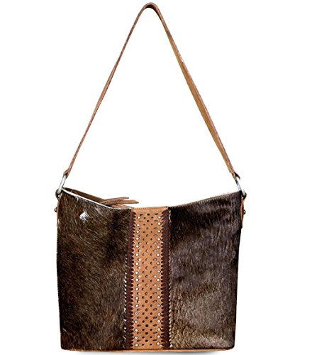 Leather Coffee Zip 3 on amp; West Hair Montana Hide Colors Top Hobo Delila UZgEqxw