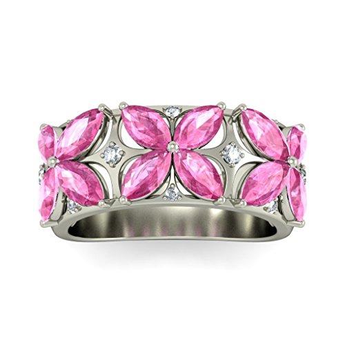 14K Or blanc, 0,08carat Diamant Taille ronde (IJ | SI) Saphir rose et diamant Bague