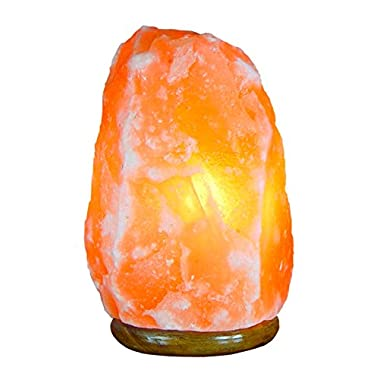Bel Air Naturals Himalayan Salt Lamp - Hand Carved Natural Pink Hymilian Salt Rock Crystal Hymalain Salt Lamps - Premium Quality Genuine Wood Base - UL Listed Brightness Dimmer Switch Cord (7-9 )