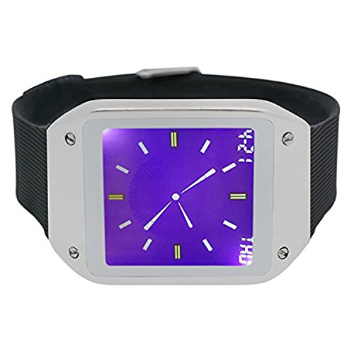 Techno Pave Digital Touch Screen Gear Square Face Silver PlatedBezel with Black Rubber Band Watch