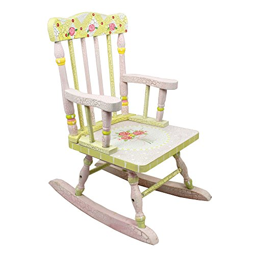 Fantasy Fields - Crackled Rose Thematic Kids Wooden Rocking Chair   Imagination Inspiring Hand Crafted & Hand Painted Details   Non-Toxic, Lead Free Water-based (Mdf Painted Chair)