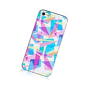 LZX Color Stitching Pattern Black Frame Back Case for iPhone 5/5S