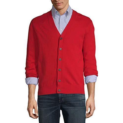 Largemouth Men's Red Cardigan Sweater (Medium) -