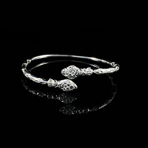 West Indian Bangle with Snake Heads Handmade in 925 Sterling Silver 150 gauge - Size 9
