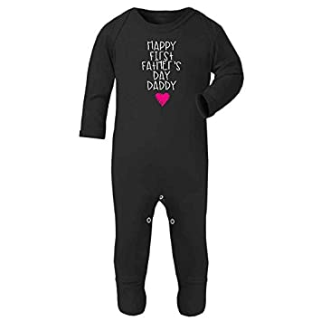 Happy First Fathers Day Daddy Pink Scribble Heart New Dad Cute Baby Rompersuit Fathers Day Gift