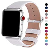 Fullmosa Compatible iWatch Bands 42mm 38mm Women Calf Leather Compatible Apple Watch Bands Straps Replacement Compatible Apple Watch Series 3 Series 2 Series 1, 42mm White