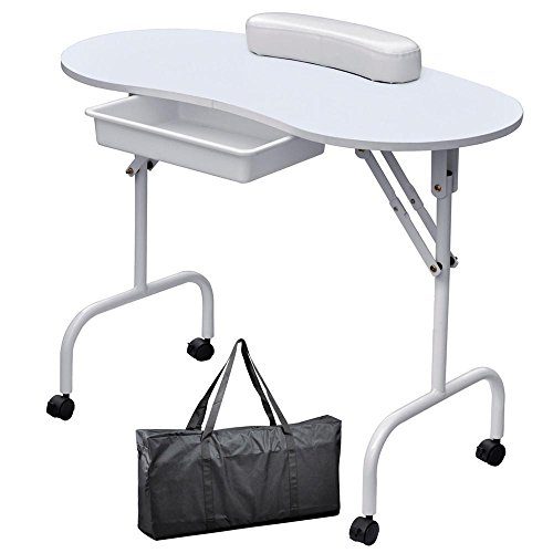 Yaheetech 37-inch White Foldable Manicure Nail Table Station Desk Portable Spa Beauty Salon Equipment with Client Wrist Pad and Carrying Case