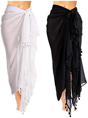 2 Pieces Women Beach Batik Long Sarong Swimsuit Cover up Wrap Pareo with Tassel for Women Girls