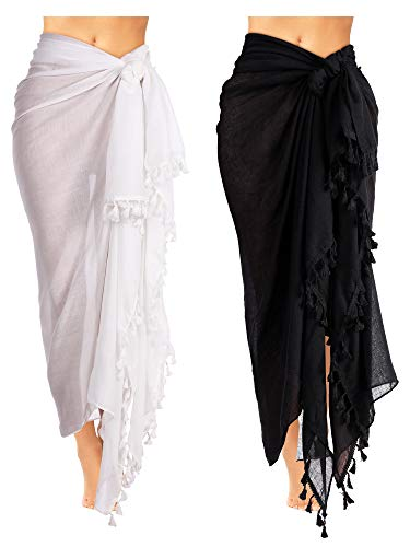 2 Pieces Women Beach Batik Long Sarong Swimsuit Cover up Wrap Pareo with Tassel for Women Girls (Color Set 1)