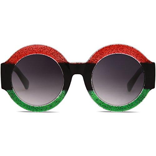 Grande SOJOS Negro Elegante Lentes Marco Redondas Sol Verde Mujer SJ2047 Rojo C4 Gafas De Marco wx0O6I0rq