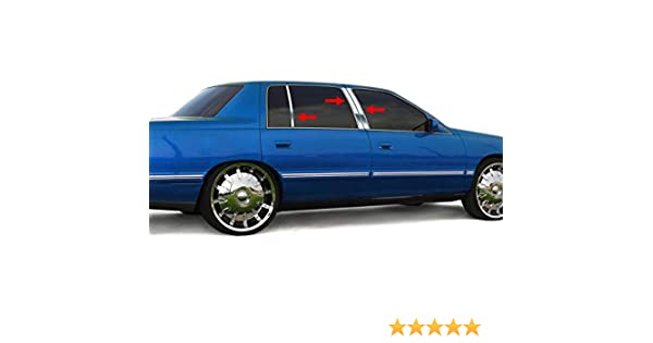 MAXMATE Made in USA Works with 1994-1996 Cadillac Deville 6PC Stainless Steel Chrome Pillar Post Trim